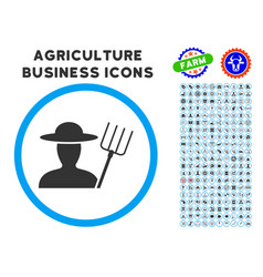 farmer with pitchfork rounded icon with set vector image vector image