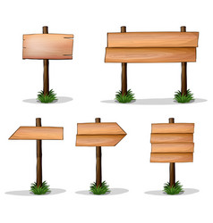 five wooden signs on white background vector image vector image