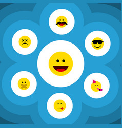 flat icon face set of party time emoticon laugh vector image