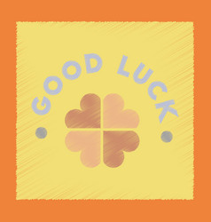 Flat shading style icon good luck clover vector