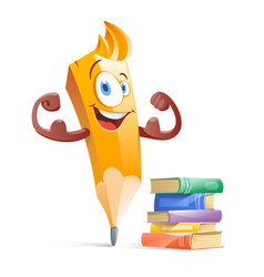Funny cartoon pensil with books education vector
