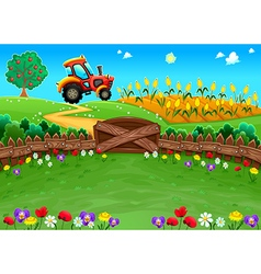 Funny landscape with tractor and cornfield vector