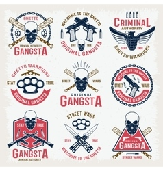 Gangster colored emblems vector