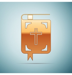Gold Bible icon on blue background vector image