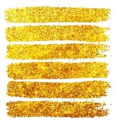 Golden glitter brushstrokes set isolated at white vector image