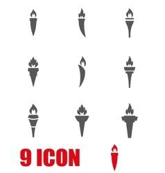 grey torch icon set vector image