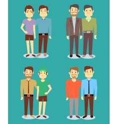 Happy gay lgbt men pairs in love background vector