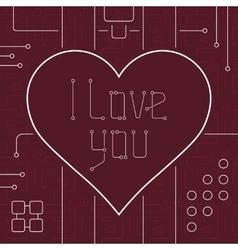 I Love You Techno Line Art Bakcground vector image