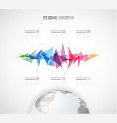 Infographic template with polygonal map and vector