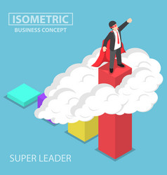 Isometric super businessman standing on the top vector