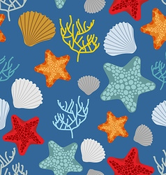 Marine seamless pattern starfish scallop and vector