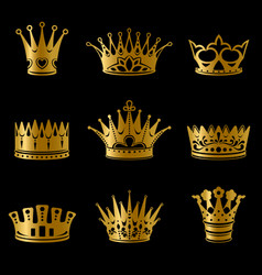 Medieval gold royal crowns collection vector