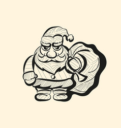 Old santa hand drawn sketch vector