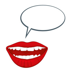 open womans mouth with speech bubble vector image