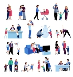 Parenthood family situations flat icons set vector