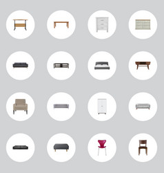 realistic cupboard mattress table and other vector image