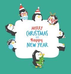 Set of cute penguins vector