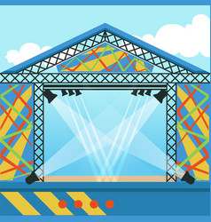 Stage for open air festival music event or rock vector