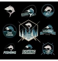 Set of fishing logos emblems badges vector image