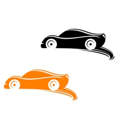 Rally racing cars in silhouette style vector