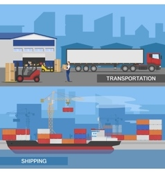 Flat Logistic Panorams Banner Set vector image