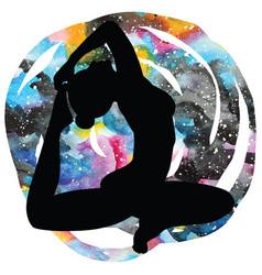Women silhouette one-legged king pigeon yoga pose vector