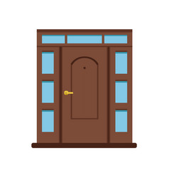 Classic brown wooden entrance door to house vector