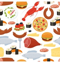 Food seamless pattern in flat style vector