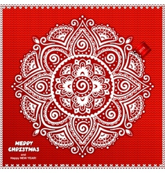 Beautiful Christmas lace ornament with a knitted vector image