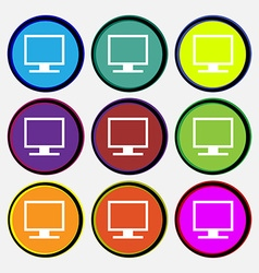 Computer widescreen monitor icon sign nine vector