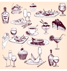 Hand drawn set of tableware food and drinks vector
