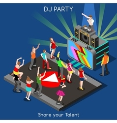 Dj performance people isometric vector