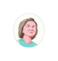 Woman head looking forward caricature vector