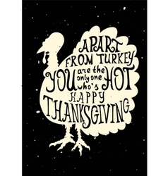 Turkey grungy card for thanksgiving vector