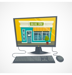 Online shop concept with computer shop building vector
