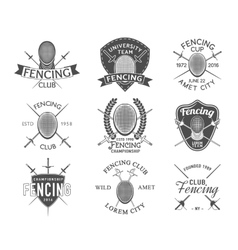 Fencing icons set vector