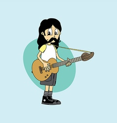 Male cartoon character band guitar theme vector