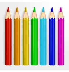 Set of realistic rainbow colored pencils isolated vector