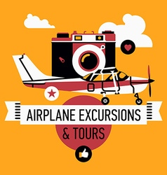 Airplane excursions and tours poster vector