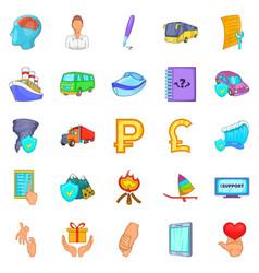 Assurance icons set cartoon style vector