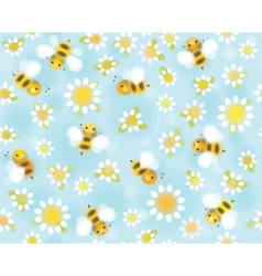 Bees flowers pattern vector