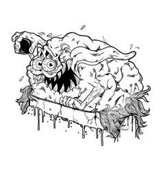 brain monster vector image