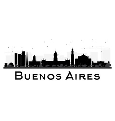 Buenos Aires skyline black and white silhouette vector image