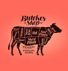 butcher shop meat cut charts beef cow steak vector image vector image