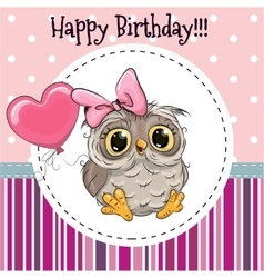 Cute Owl with Balloon vector image vector image