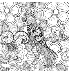 Cute parrot in fantasy flowers vector image vector image