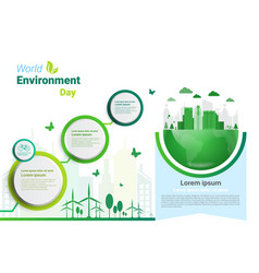Earth green city world environment day ecology vector