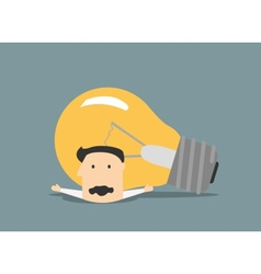 Flat businessman pressure with light bulb vector image vector image