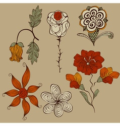 Floral bizarre design elements vector