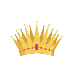 golden ancient crown with precious stones vector image